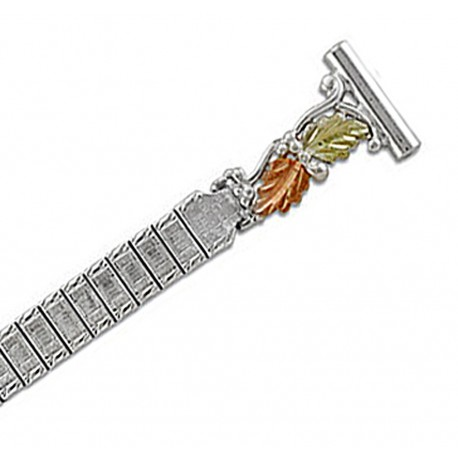 Landstrom's® 12K Black Hills Gold Leaves on Sterling Silver Ladies Watchband