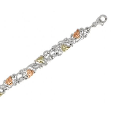 Landstrom's® 12K Black Hills Gold Leaves on Sterling Silver Bracelet