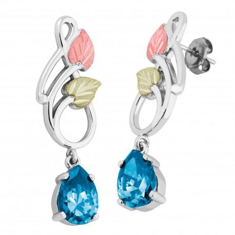 Landstrom's® Black Hills Gold on Silver Dangle Earrings with 10x7mm Pear Swiss Blue CZ