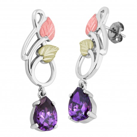Landstrom's® Black Hills Gold on Silver Dangle Earrings with 10x7mm Pear Amethyst CZ