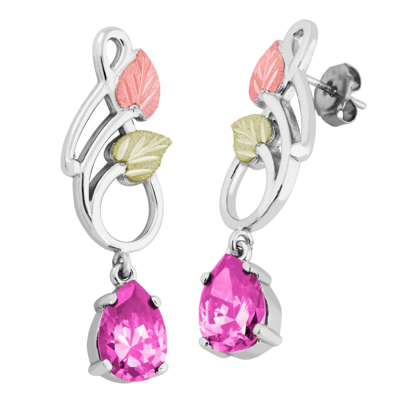 Landstrom S Black Hills Gold On Silver Dangle Earrings With 10x7mm Pear Pink Cz