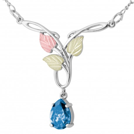 Landstrom's® Black Hills Gold on Silver Necklace with 10x7mm Pear Swiss Blue CZ
