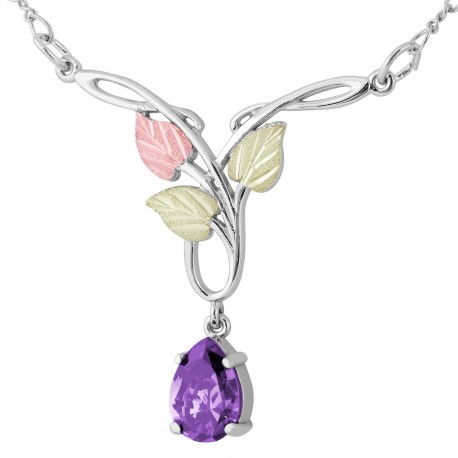 Landstrom's® Black Hills Gold on Silver Necklace with 10x7mm Pear Amethyst CZ