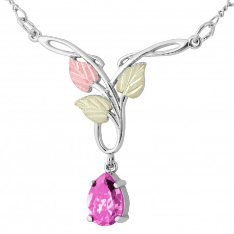 Landstrom's® Black Hills Gold on Silver Necklace with 10x7mm Pear Pink CZ