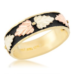 Women's 10K Black Hills Gold Antiqued Wedding Band by Mt Rushmore