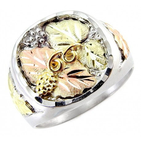 Black Hills Silver Men's Ring with 12k Gold Leaves