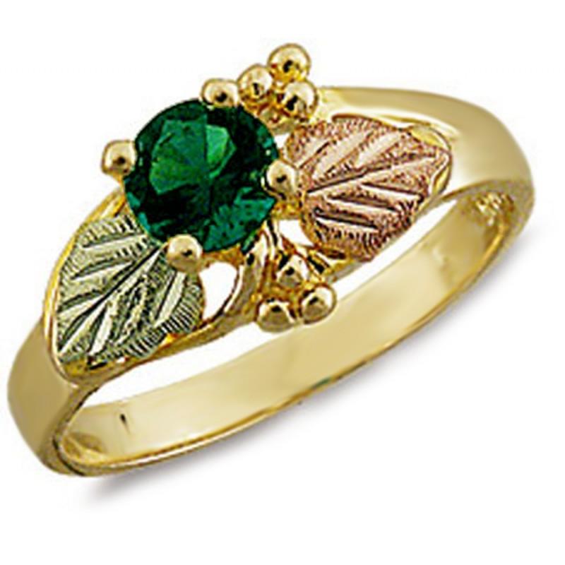 Landstrom S 174 10k Black Hills Gold Ladies Ring With Emerald