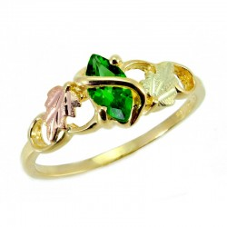 10K Tri-color Black Hills Gold Ladies Ring w/ Lab-created Emerald