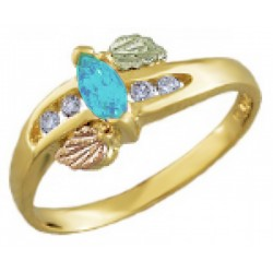 Landstrom's® 10K Black Hills Gold Ring with Diamond and Blue Topaz