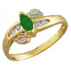 Landstrom's® 10K Black Hills Gold Ring with Diamond and Emerald