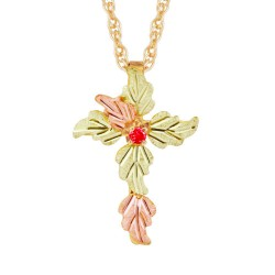 Mt Rushmore Tri-color 10K Black Hills Gold Cross Pendant with Ruby