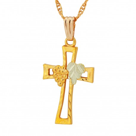 Landstrom's® 10K Black Hills Gold Diamond-Cut Cross Pendant Necklace
