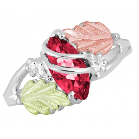 Landstrom's® Sterling Silver & Gold Ruby July Birthstone Ring