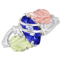 Landstrom's® Sterling Silver & Gold Blue Spinal September Birthstone Ring