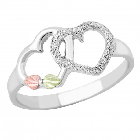 Landstrom's® Black Hills Gold on Sterling Silver Double Heart Ring