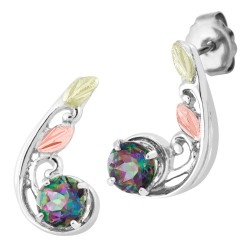Tri-Color Black Hills Gold on Sterling Silver Mystic Fire Topaz Earrings