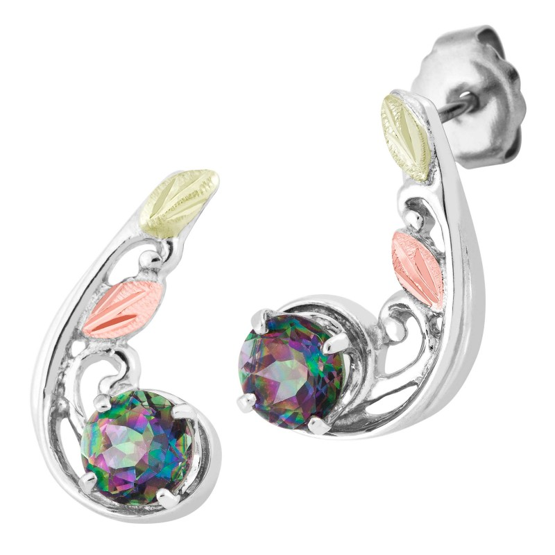 Tri Color Black Hills Gold On Sterling Silver Mystic Fire Topaz Earrings