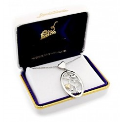 Black Hills Gold on Sterling Silver Oval Pendant with Hearts