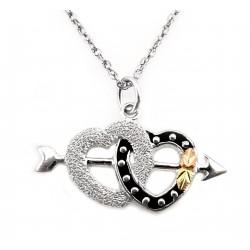 Landstrom's® Black Hills Gold Sterling Silver Double Heart Pendant