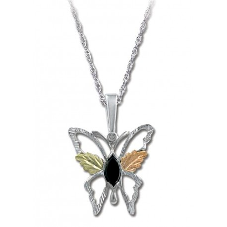 BLACK HILLS GOLD STERLING SILVER LADIES 8X4MM ONYX BUTTERFLY PENDANT NECKLACE