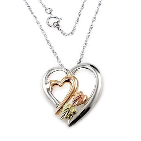 Landstrom's® Black Hills Gold Sterling Silver & 10K Gold Heart Pendant