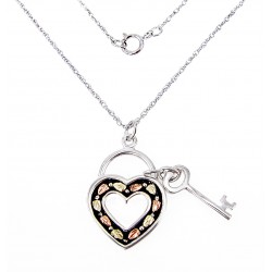 Landstrom's® Black Hills Gold on Sterling Silver Heart & Key Pendant