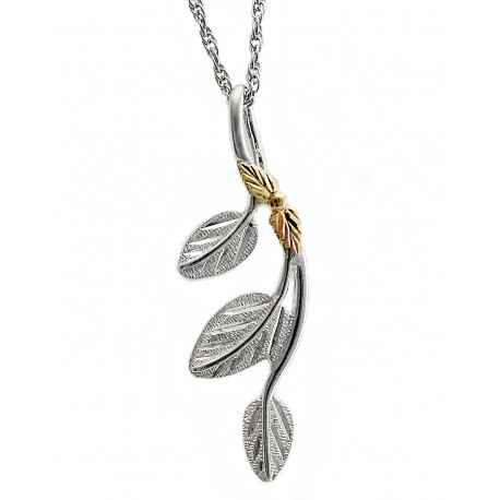 Landstrom's® Black Hills Gold on Sterling Silver Leaf Pendant
