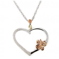 Landstrom's® Black Hills Gold on Sterling Silver Heart Pendant w 10K Gold Butterfly