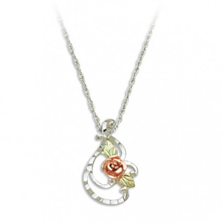 BLACK HILLS GOLD STERLING SILVER LADIES FLOWER PENDANT NECKLACE