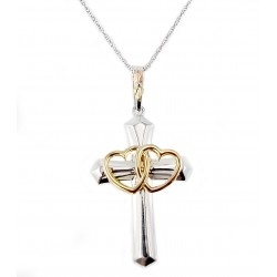 Landstrom's® Black Hills Gold on Sterling Silver Cross Pendant w 10K Gold Double Heart