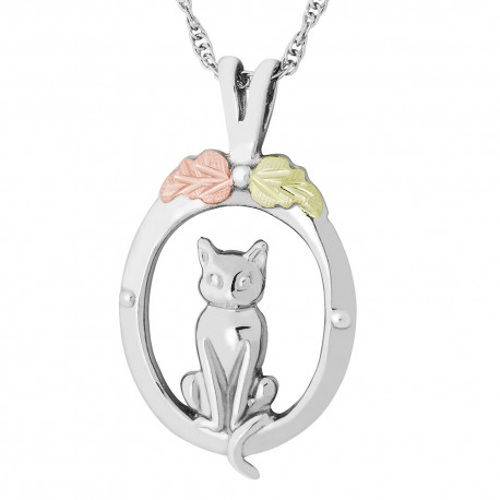 Black Hills Gold on Sterling Silver Cat Pendant - Necklace by Mt. Rushmore