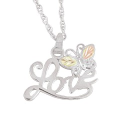 Black Hills Gold on Sterling Silver Love and Butterfly Pendant