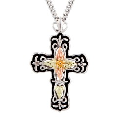 Black Hills Gold on Sterling Silver Cross Pendant With Antiquing by Mt Rushmore