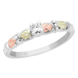 Mt. Rushmore Tri-color Black Hills Gold on Silver Engagement Ring w/ CZ