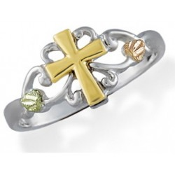 Landstrom's(®) Tri color Black Hills Gold on Sterling Silver Cross Ring Size 7