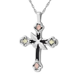Landstrom's® Black Hills Gold on Sterling Silver Cross Pendant with Dove