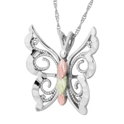 Landstrom's® Black Hills Gold on Sterling Silver Butterfly Pendant