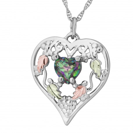 Landstrom's® Black Hills Gold on Sterling Silver Heart Pendant w Mystic Fire Topaz