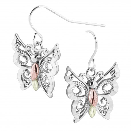 Landstrom's® Black Hills Gold on Sterling Silver Butterfly Earrings