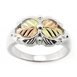 Coleman Black Hills Gold on Sterling Silver Ring w 12K Leaves Size 8
