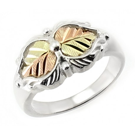 Coleman Black Hills Gold on Sterling Silver Ring w 12K Leaves Size 7