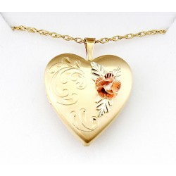 Black Hills Gold Filled Heart Locket with 10K Gold Rose