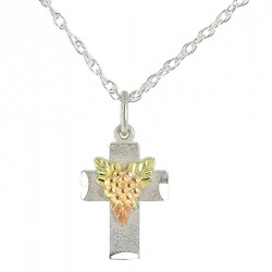 Coleman Black Hills Gold on Sterling Silver Cross Pendant w 10K Gold Grapes