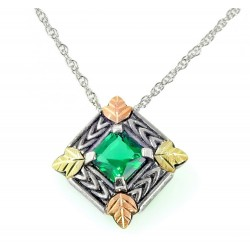 Coleman Black Hills Gold on Sterling Silver Oxidized Pendant w Emerald