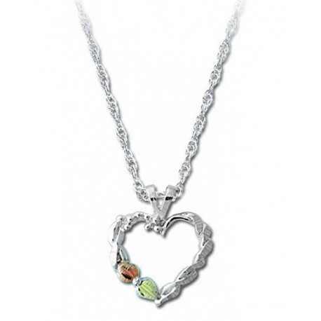 BLACK HILLS GOLD LADIES STERLING SILVER HEART PENDANT NECKLACE
