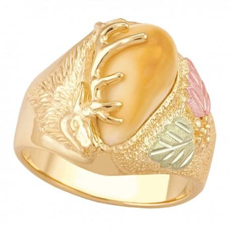 Stunning Elk Ivory Black Hills Gold Men's Ring