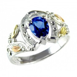 Landstrom's® Black Hills Gold on Silver Horseshoe Ring with Lab-Created Blue Spinel