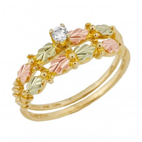 Tri-color Black Hills Gold and Diamond Wedding Set