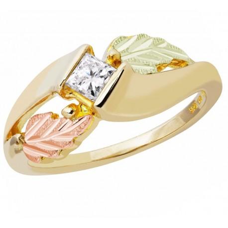 Tri-color Black Hills Gold Princess Cut Diamond Engagement Ring
