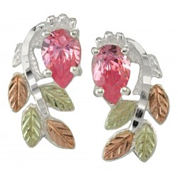 Black Hills Gold on Sterling Silver Post Earrings w/ Pink Ice CZ